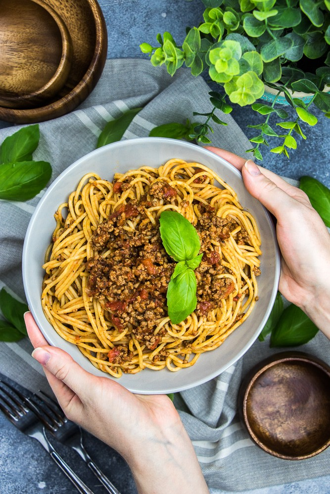 Pasta with Meat Sauce recipe is the best homemade comfort meal! This is a great family dinner idea that you can make in 30 minutes!