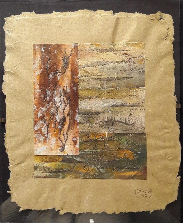 """<em>Petit paysage d'hiver"""" : tissu peint à l'acrylique et encre de Chine, patché et brodé</em> <em>(2020)</em>"""