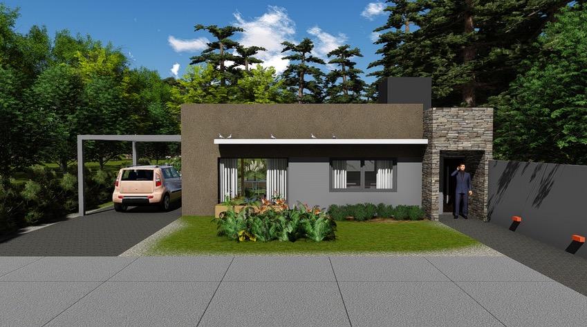Plano de casa moderna de 102,4m2 con 2 dormitorios
