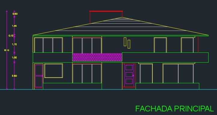 Descargar plano de casa de 2 pisos y 3 dormitorios gratis