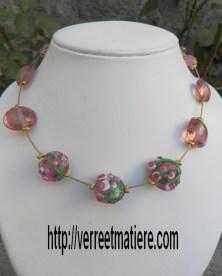 """Collier  rose """"Bouquet de fleurs"""""""