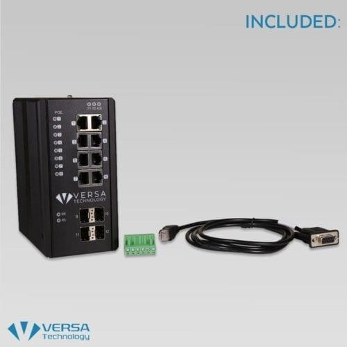 Industrial PoE Switch 8 Port | VX-IGP-1204F | Versa Technology