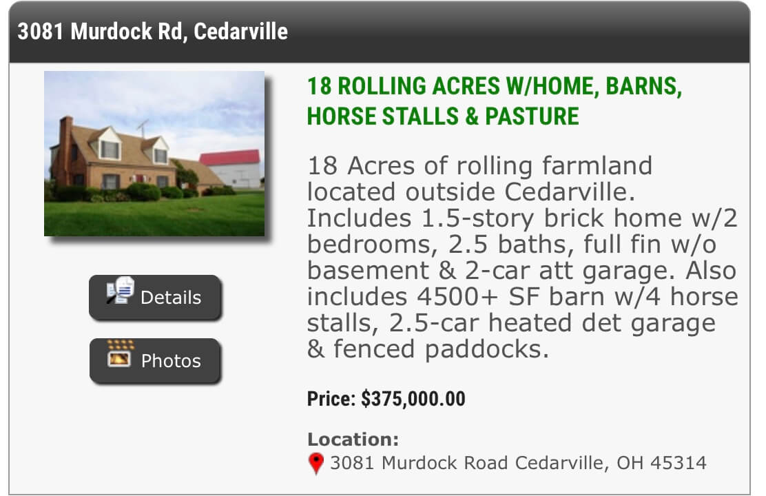 Real home, Cedarville, Ohio, Country Home for Sale