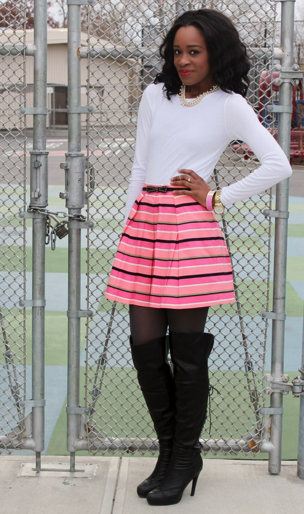 skater skirt and over the knee boots