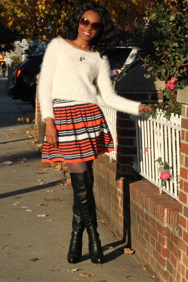 Striped skirt + over the knee boots + fluffy sweater (2)