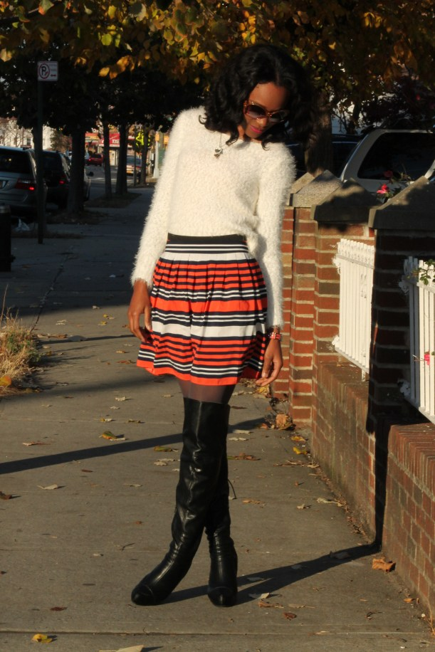 Striped skirt + over the knee boots + fluffy sweater (5)