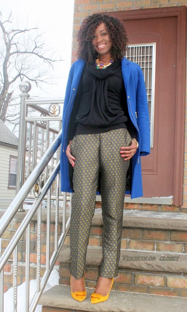 Jacquard pants +satin bow pumps   (7)