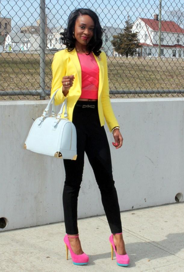 Black trousers + pink croptop + yellow blazer (2)