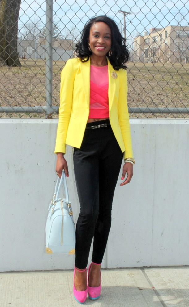 Black trousers + pink croptop + yellow blazer (9)