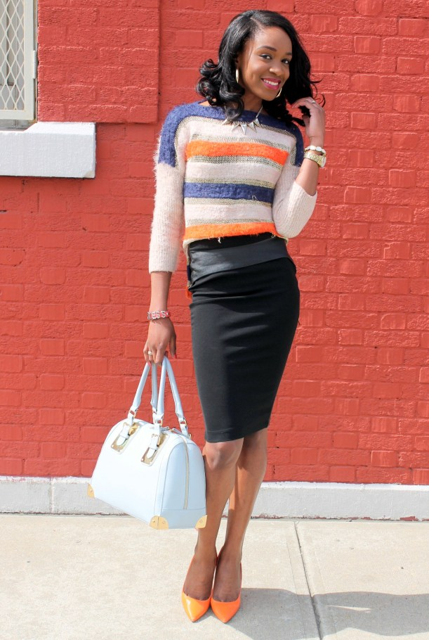 Striped sweater + Pencil skirt with faux leather details (10)