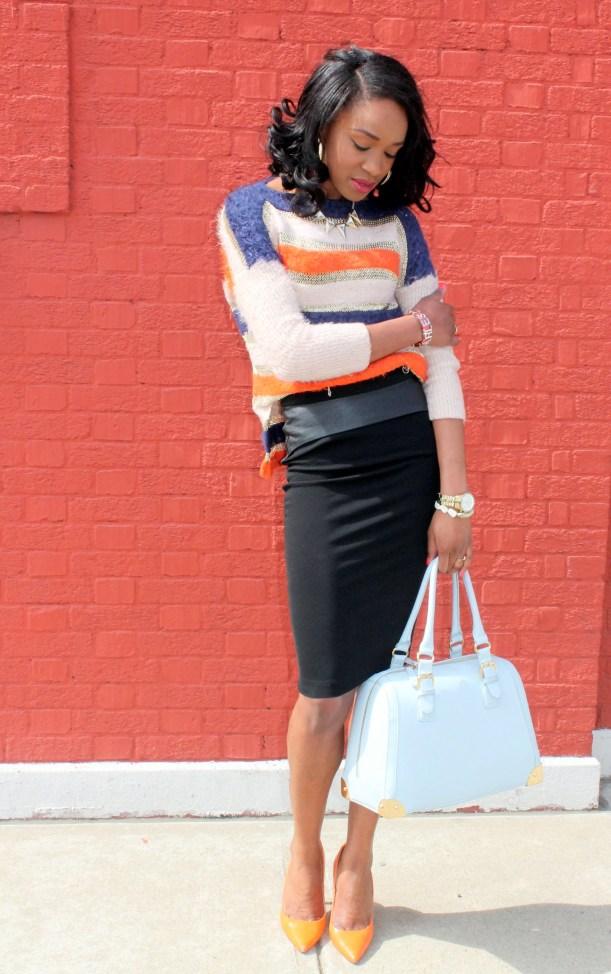 Striped sweater + Pencil skirt with faux leather details (5)