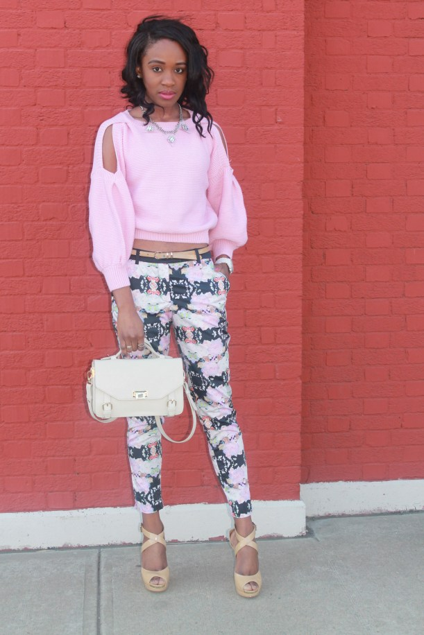 Floral trousers + cut out sweater (1)