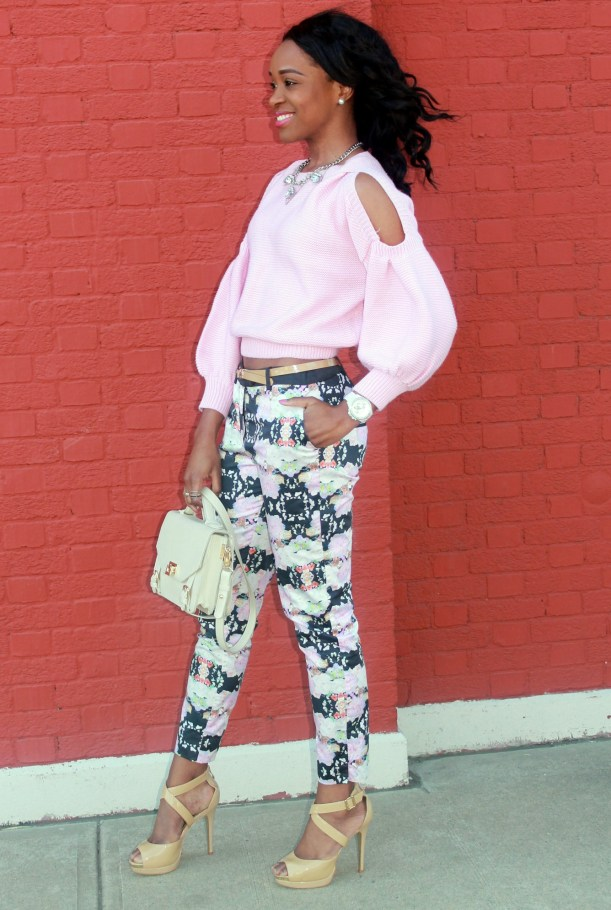Floral trousers + cut out sweater (3)