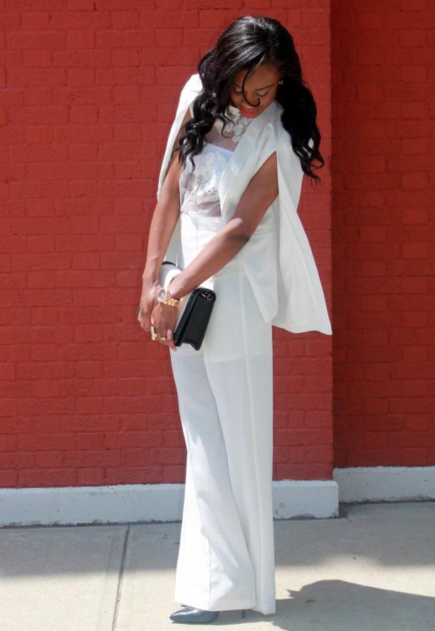 All white wide leg pants + cape blazer (11)