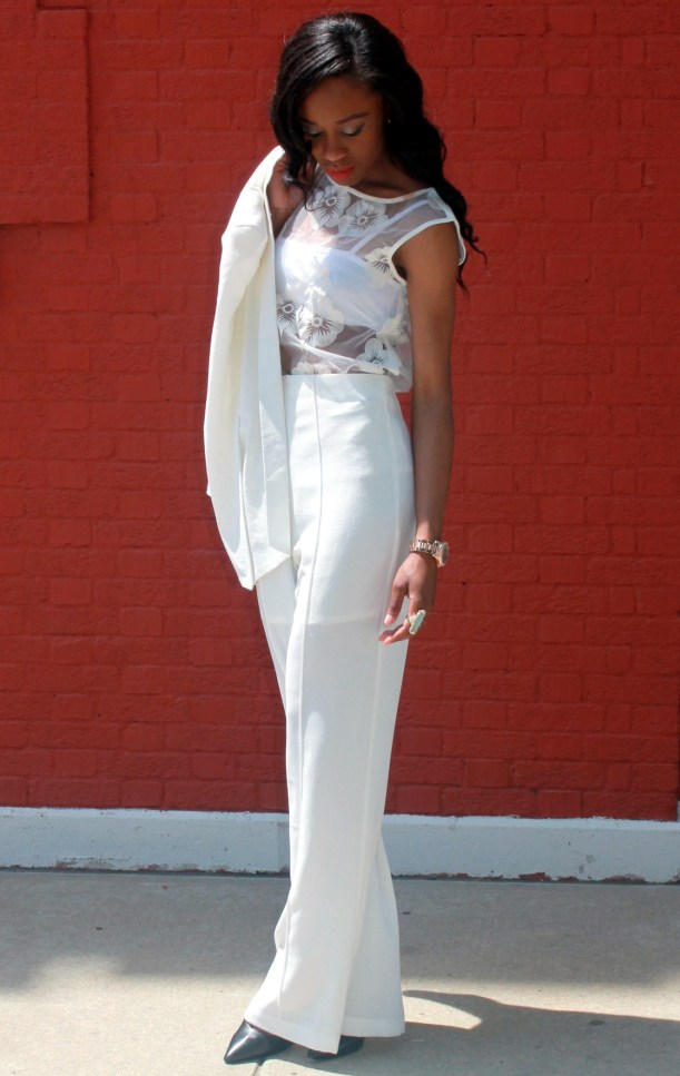 All white wide leg pants + cape blazer (3)