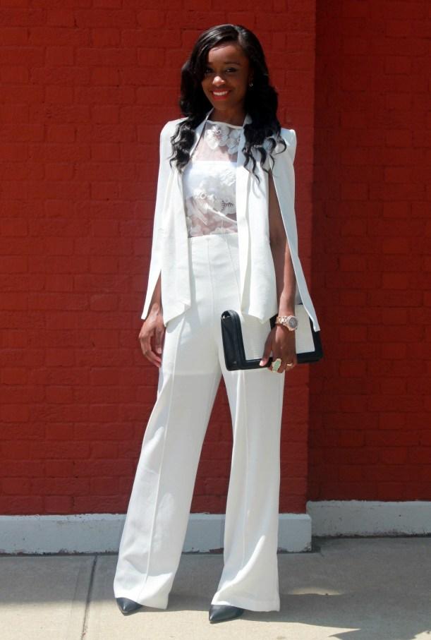 All white wide leg pants + cape blazer (8)