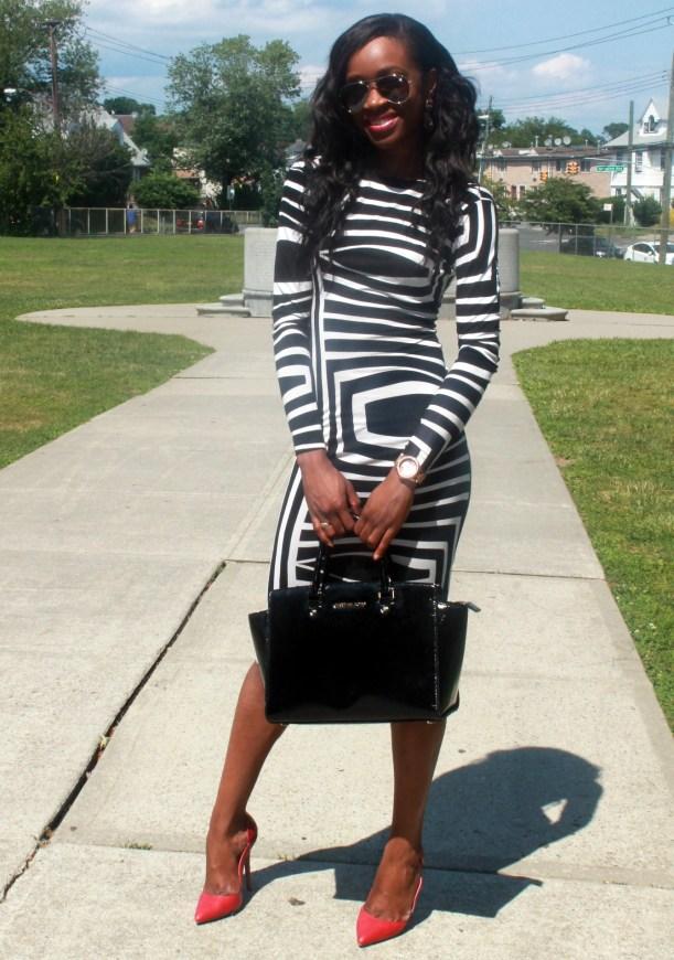 Asos black and white backless midi dress (4)