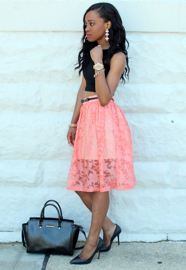 Black crop top + pastel midi skirt (6)