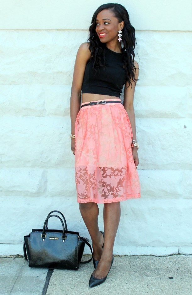 Black crop top + pastel midi skirt (8)