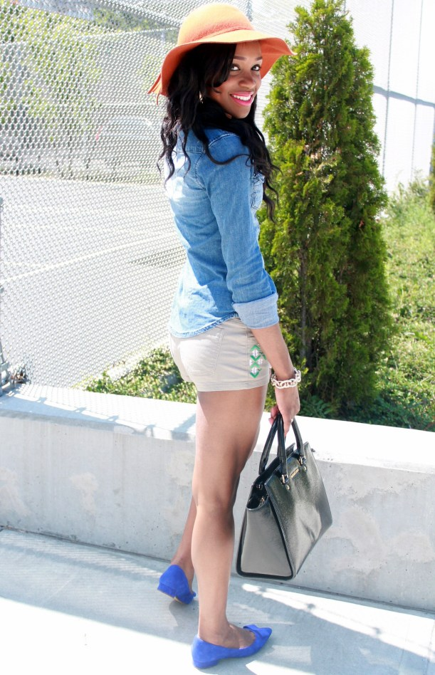 Chambray top + bow suede flats (11)
