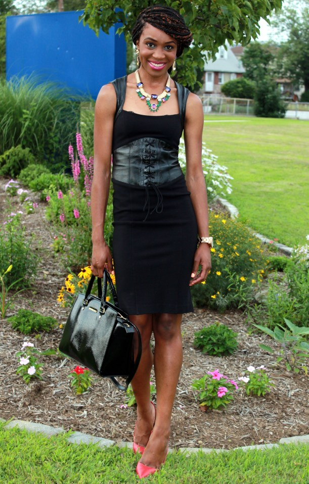 Black dress with leather details + statement necklace (1)