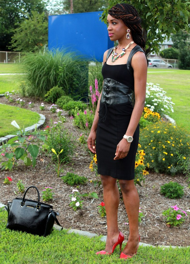 Black dress with leather details + statement necklace (10)