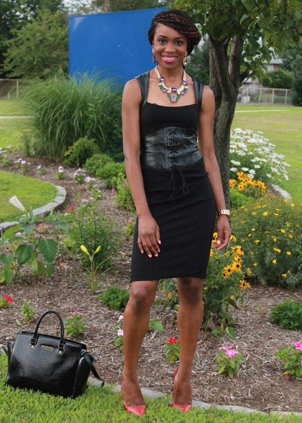Black dress with leather details + statement necklace (9)