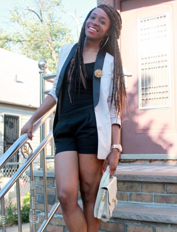 Black JCrew shorts + H&M oversized blazer (1)