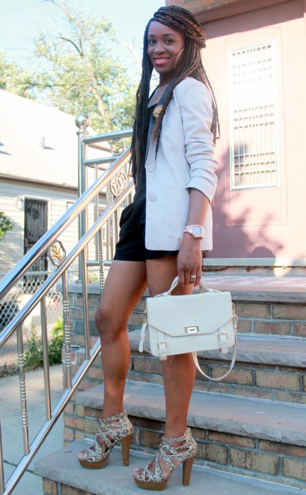 Black JCrew shorts + H&M oversized blazer (9)