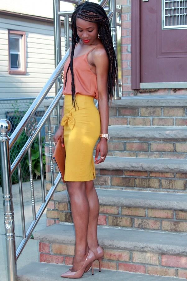 Mustard pencil skirt & silk cami (10)