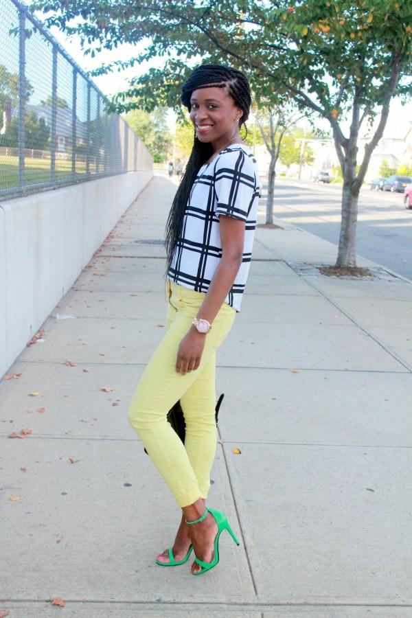 Checked shirt + yellow denim (1)