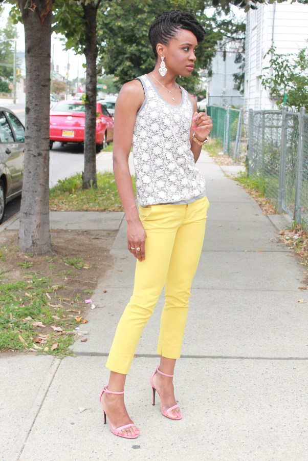 Yellow cropped trousers & lace top (2)