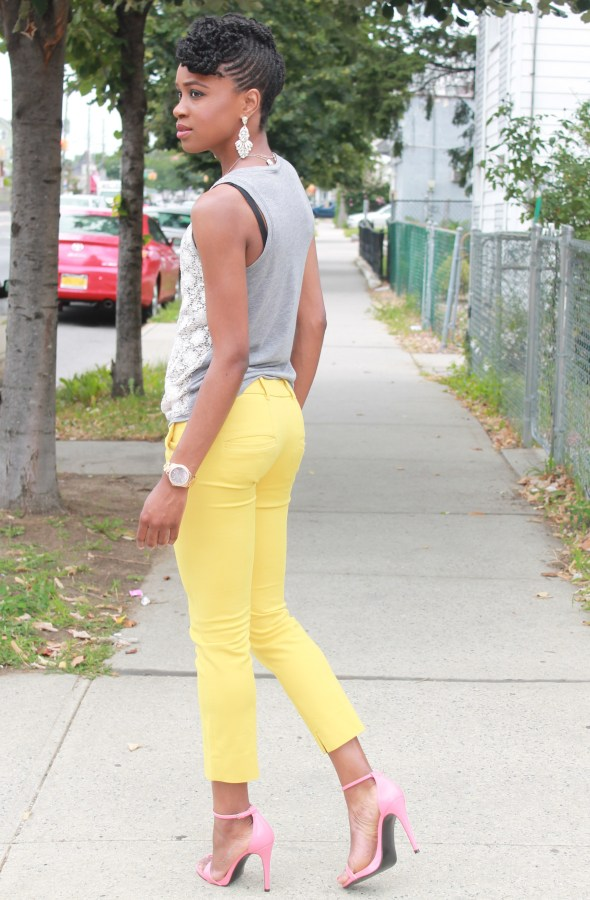 Yellow cropped trousers & lace top (9)