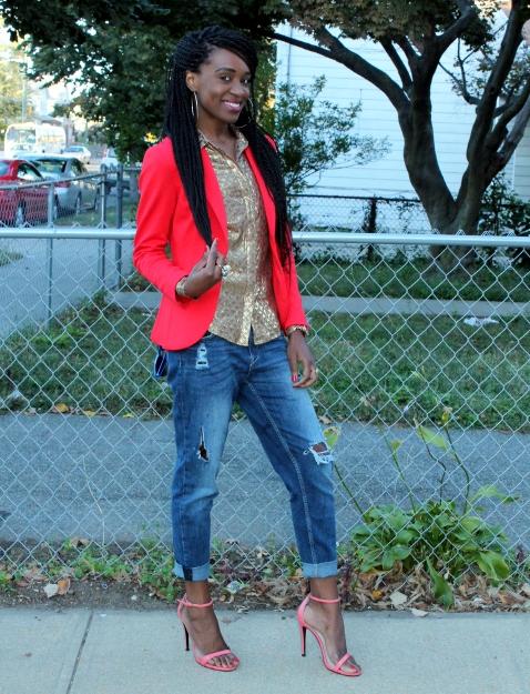 Boyfriend jeans + bright blazer (2)