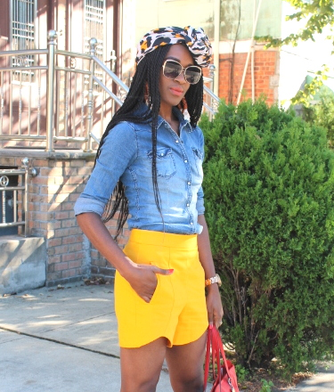 Zara shorts + chambray shirt + headwrap (1)