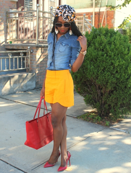 Zara shorts + chambray shirt + headwrap (11)