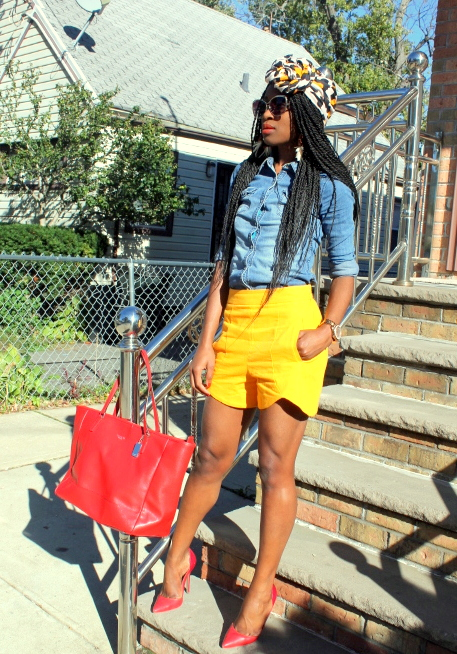 Zara shorts + chambray shirt + headwrap (7)