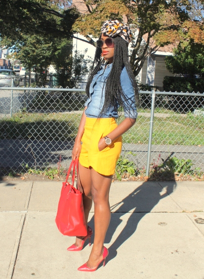 Zara shorts + chambray shirt + headwrap (9)