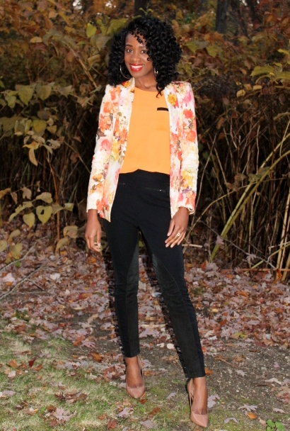 Floral blazer + high waisted trousers (2)
