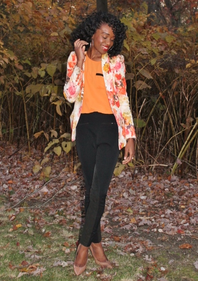 Floral blazer + high waisted trousers (9)