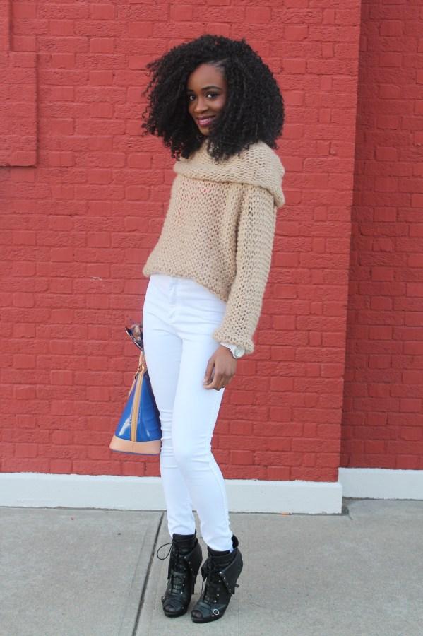American Apparel high waist white jeans & sheinside sweater (1)