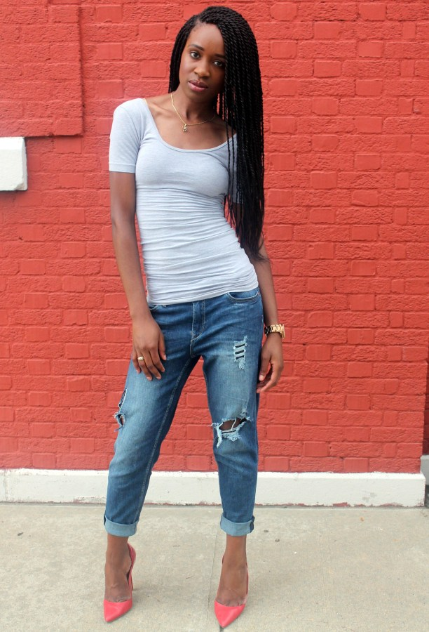 Distressed bf jeans  + red heels (1)