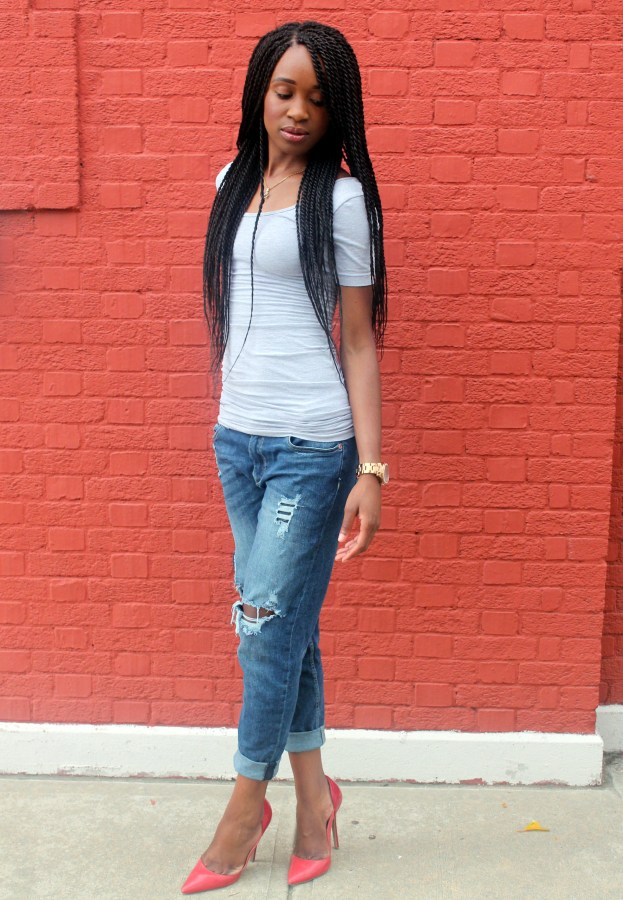 Distressed bf jeans  + red heels (4)