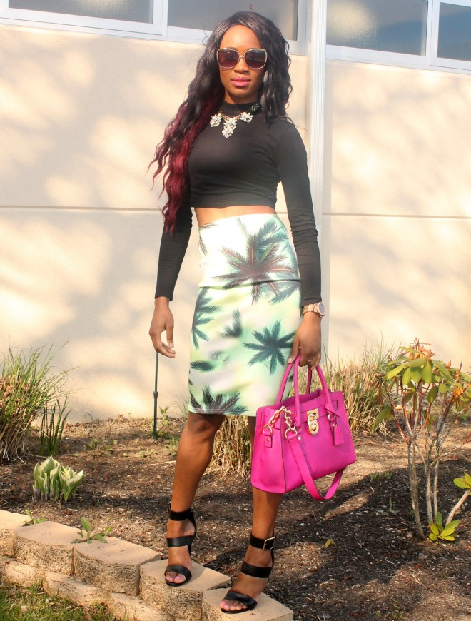 Printed pencil skirt & black high neck crop top (3)