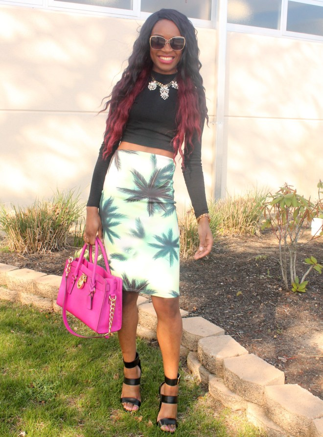 Printed pencil skirt & black high neck crop top (6)