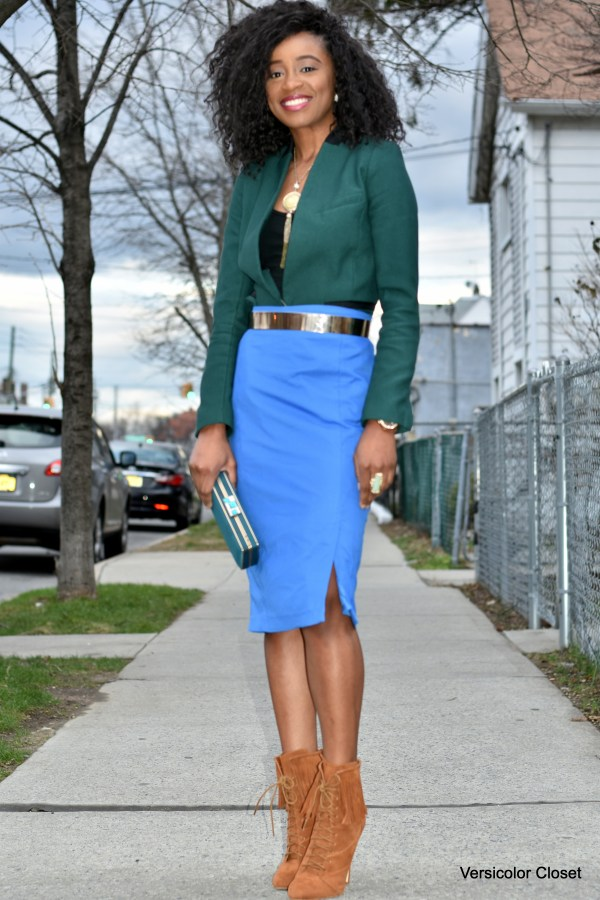 Blue pencil skirt & green blazer (6)