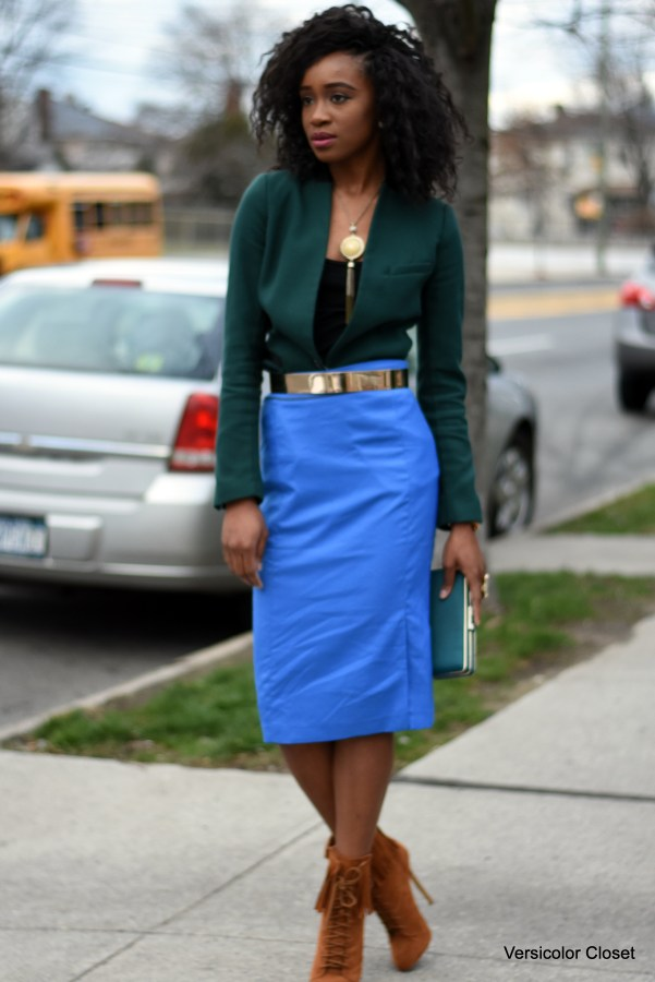 Blue pencil skirt & green blazer (8)