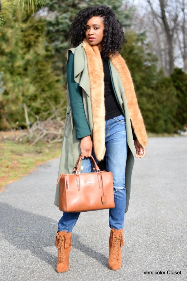 Distressed denim, waterfall coat, camel booties and purse (4)