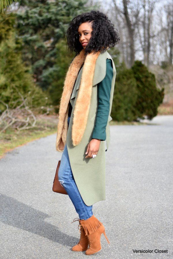 Distressed denim, waterfall coat, camel booties and purse (5)