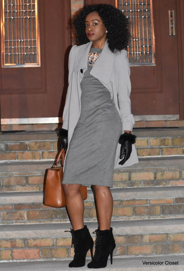 Grey midi dress + fringe booties (5)